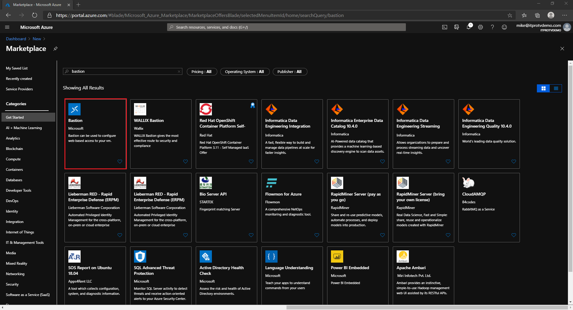Select Azure Bastion published by Microsoft