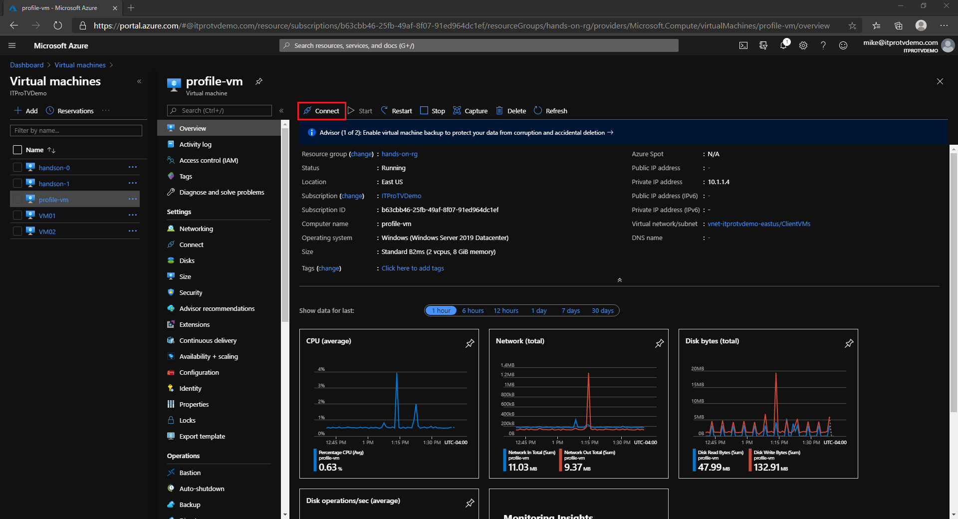 Connecting to an Azure VM from the Azure portal using the Azure Bastion