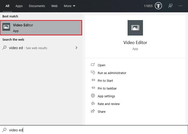 Windows 10 start menu showing the Video Editor app