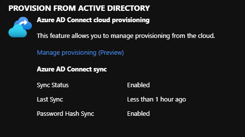 Azure AD Connect Sync showing status enabled.