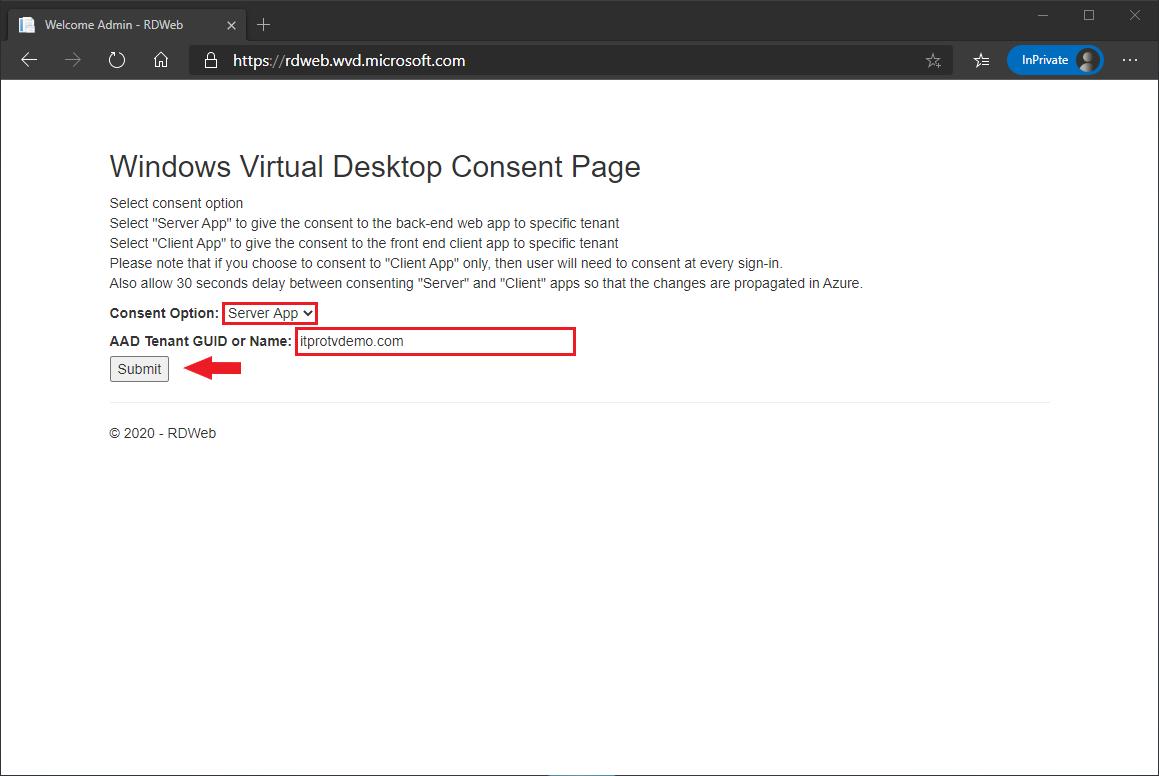 Granting consent to the Windows Virtual Desktop server app