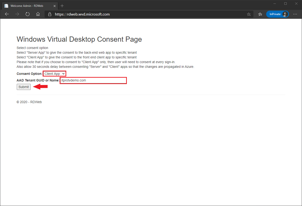 Granting consent to the Windows Virtual Desktop client app