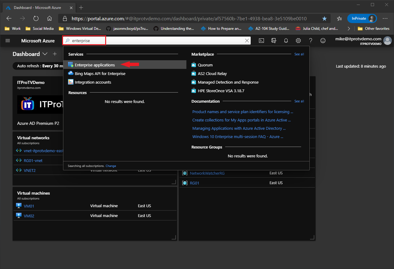 Searching for enterprise applications in the Azure portal