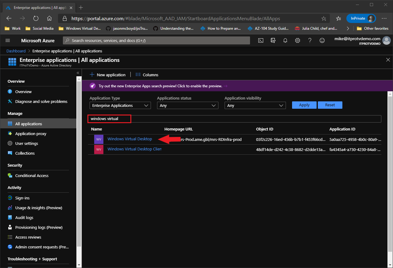 Searching for the Windows Virtual Desktop enterprise application in the Azure portal