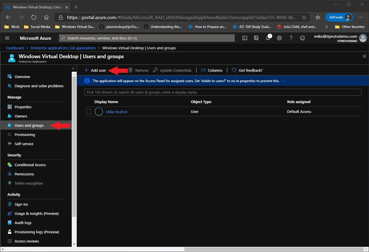 Adding a user to the Windows Virtual Desktop enterprise application