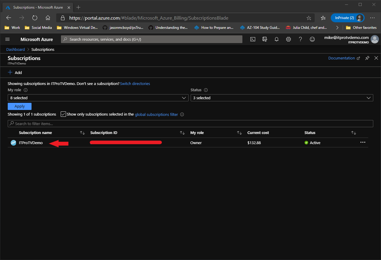 Finding your subscription ID in the Azure portal
