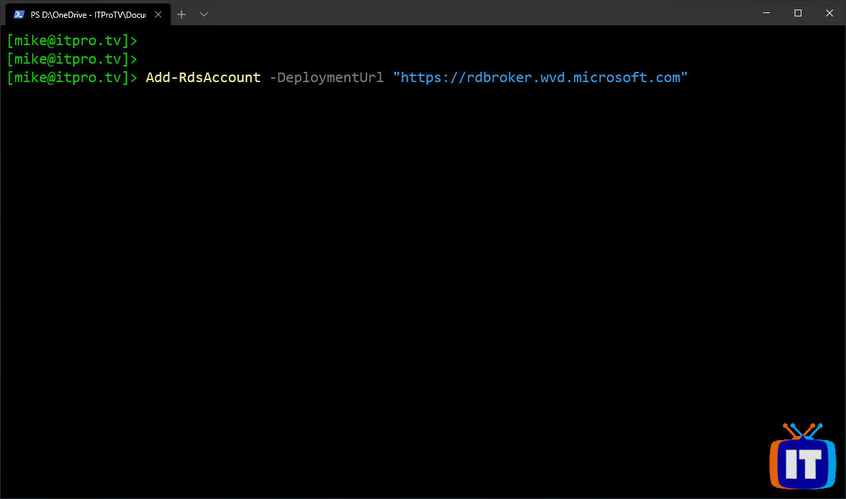 Using the Add-RdsAccount to connect to Windows Virtual Desktop from Windows PowerShell
