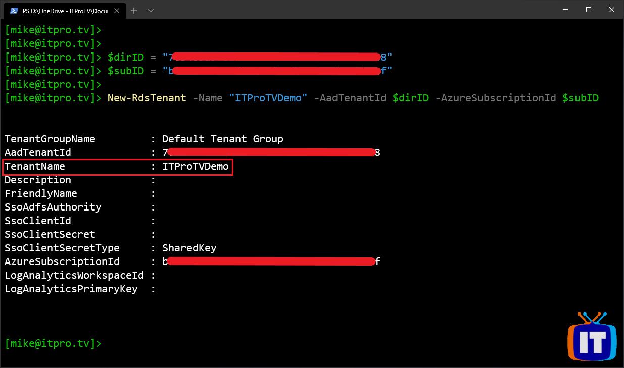 Creating a new Windows Virtual Desktop tenant using Windows PowerShell
