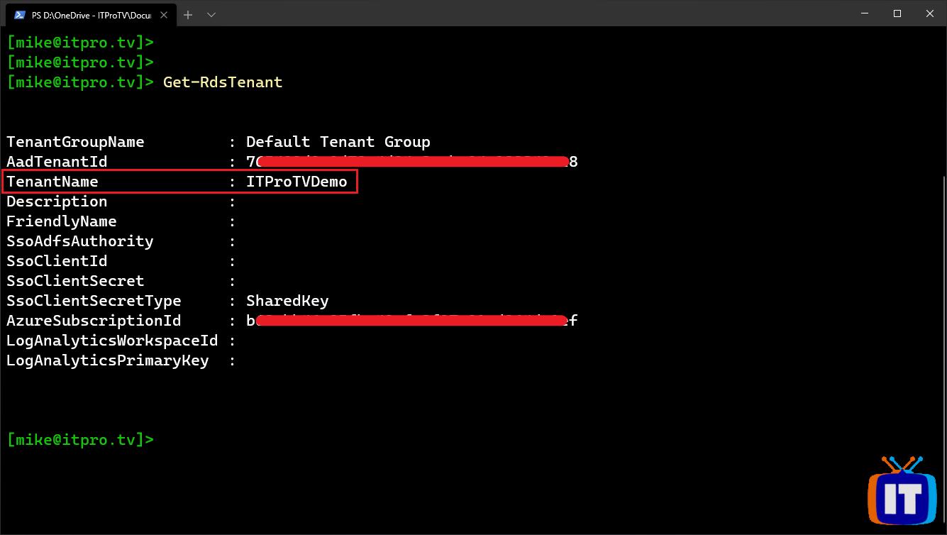Retrieving the Windows Virtual Desktop tenant name using PowerShell